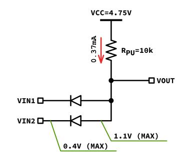 LS-TTLロジックをダイオードANDに接続する