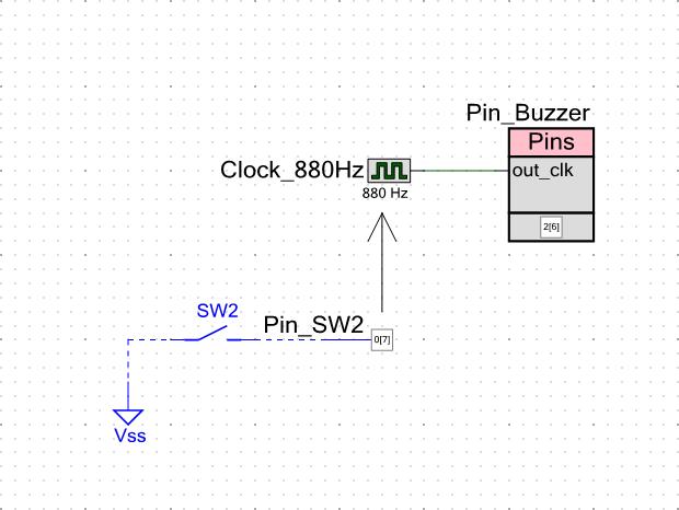 ボタンでブザーを操作する回路