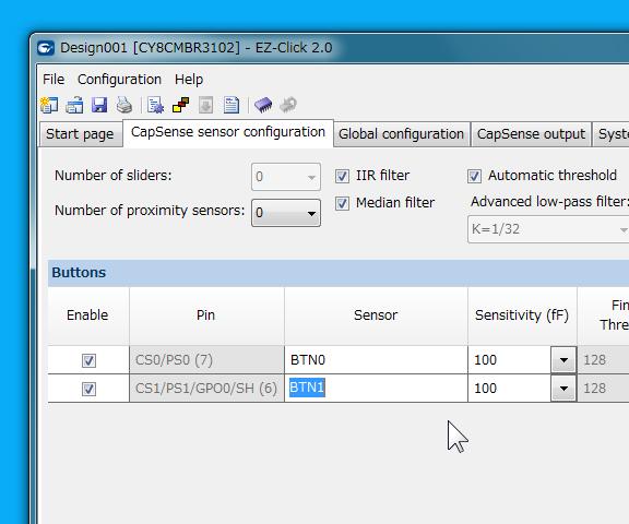 CapSense sensor configuration タブ